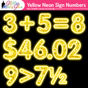 Yellow Neon Sign Numbers Clip Art | Glitter Classroom Decor & Resources for Math