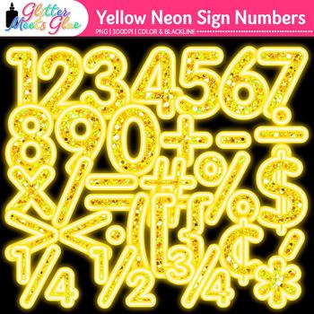 Yellow Glitter Neon Sign Numbers Clip Art {Glitter Meets Glue}