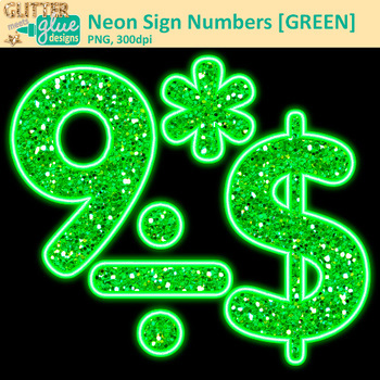 Green Neon Sign Numbers Clip Art | Glitter Classroom Decor & Resources for Math