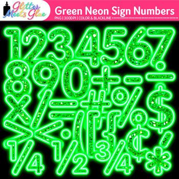 Green Glitter Neon Sign Numbers Clip Art {Glitter Meets Glue}