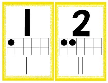 Yellow Numbers 1-20 Posters