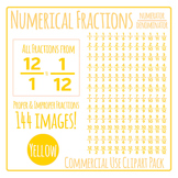 Yellow Numerical Fractions - Numerator and Denominator Commercial Use Clip Art