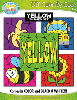 Yellow Objects Color By Code Clipart {Zip-A-Dee-Doo-Dah Designs}