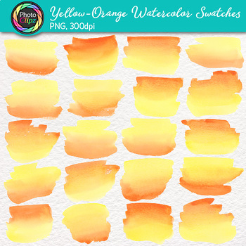 Yellow-Orange Watercolor Swatches Clip Art {Hand-Painted Textures}