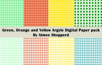 Yellow Orange and Green Digital Paper Set