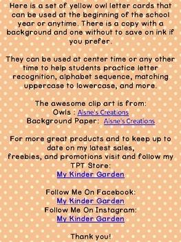 Yellow Owl Alphabet Letter Flashcards
