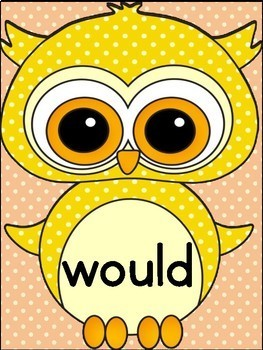 Yellow Owl  Dolch 2nd Grade High Frequency Sight Word Flashcards & Posters