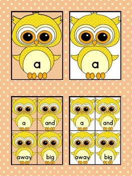 Yellow Owl  Dolch Pre-Primer High Frequency Sight Word Flashcards and Posters