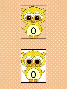 Yellow Owl Full Page Math Number Posters 0-100