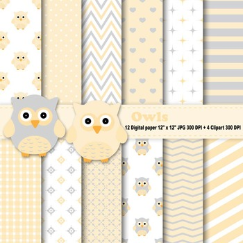 Yellow Owls Digital Paper + Clipart