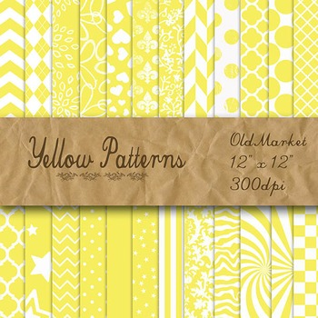 Yellow Pattern Designs - Digital Paper Pack - 24 Different Papers - 12 x 12