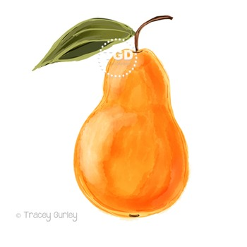 Yellow Pear with and without leaf, Printable Tracey Gurley Designs