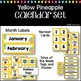 Yellow Pineapples Calendar Set #roomdecor