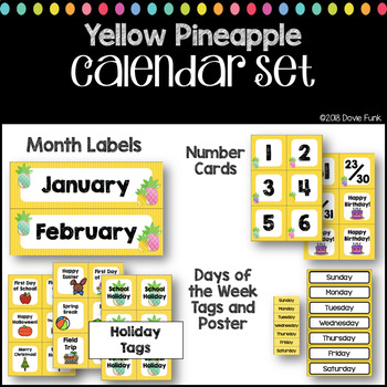 Classroom Decor Yellow Pineapples Calendar Set #roomdecor