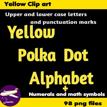 Yellow Polka Dot Alphabet Clip Art + Numerals, Punctuation and Math Symbols