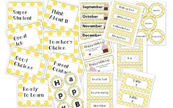 Yellow Polka-Dot Classroom Decor