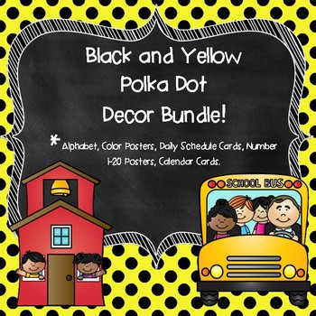 Yellow Polka Dot Classroom Decor Bundle