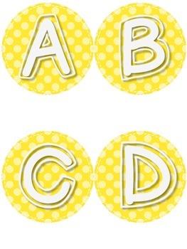Yellow Polka Dot Labels A-Z