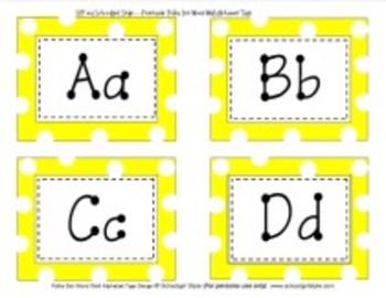 Yellow Polka Dot Word Wall Alphabet Tags Classroom Decor