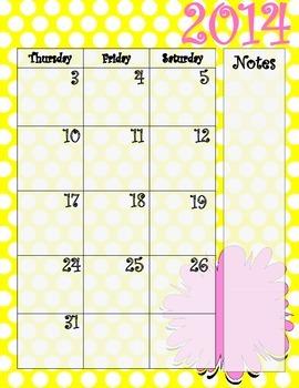 Yellow Polka Dot and Pink Calendar July 2014 - July 2015