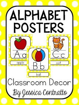 Yellow Polka Dots ABC Posters