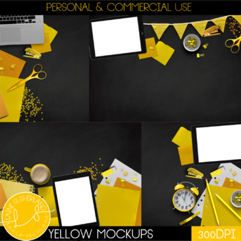 Yellow Primary Brights Style Mockups