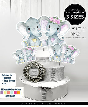 Yellow Purple,Twin Elephants Centerpiece,Floral Crown Girl & Boy,Shower topper