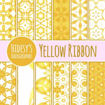 Yellow Ribbons Background / Digital Paper / Pattern Clip Art Set Commercial Use