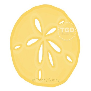 Yellow Sand Dollar, sand dollar clip art, beach art Tracey Gurley Designs
