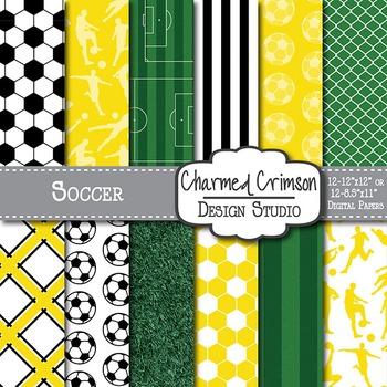 Yellow Soccer Digital Paper 1395