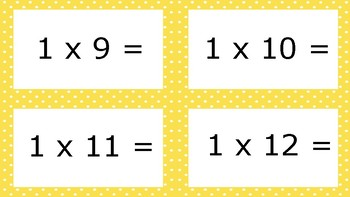 Yellow Spotty Times Tables Flash Cards