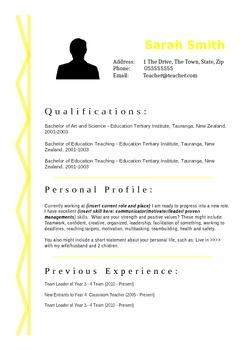 Yellow Squiggle Resume