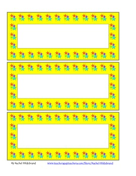 Yellow Star Blank Cards or Name Plates