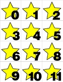 Yellow Star - Numbers 0-31 Pocket Chart Cards - CALENDAR