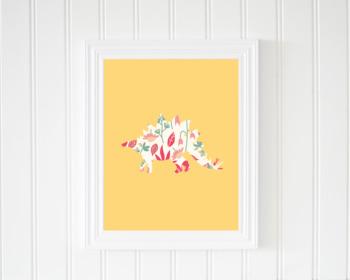 Yellow Stegosaurus Printable Poster