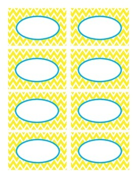 Yellow Stitched Chevron and Blue Classroom Decor Labels