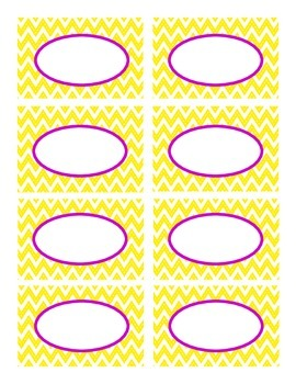 Yellow Stitched Chevron and Purple Classroom Decor Labels