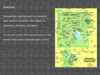 Yellow Stone National Park - Power Point - 22 Slides great review with pictures