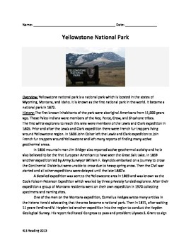 Yellow Stone National Park - Review Article Questions 10 pages 38 questions