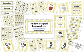 Yellow Striped Classroom Decor