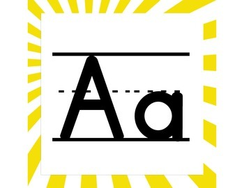 Yellow Sunbeams ABC Word Wall Letters