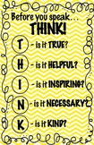 Yellow THINK Before You Speak Poster