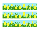 Yellow Tulip Bulletin Board Border Printable Full Color PDF Spring Flowers April