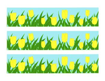 Yellow Tulip Bulletin Board Border Printable Full Color PDF Spring Flowers April