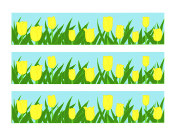 Yellow Tulip Bulletin Board Border Printable Full Color PD