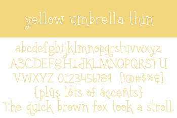 Yellow Umbrella Thin Font for Commercial Use