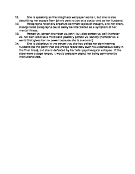 Yellow Wallpaper Study Questions (Charlotte Perkins Gilman, American Literature)