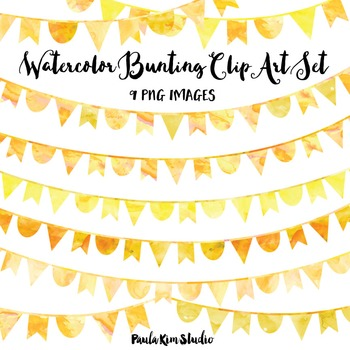 Yellow Watercolor Bunting Clip Art