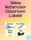 Yellow Watercolor Classroom Labels