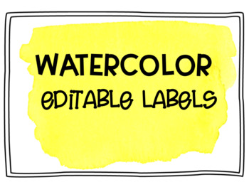 Yellow Watercolor Editable Labels